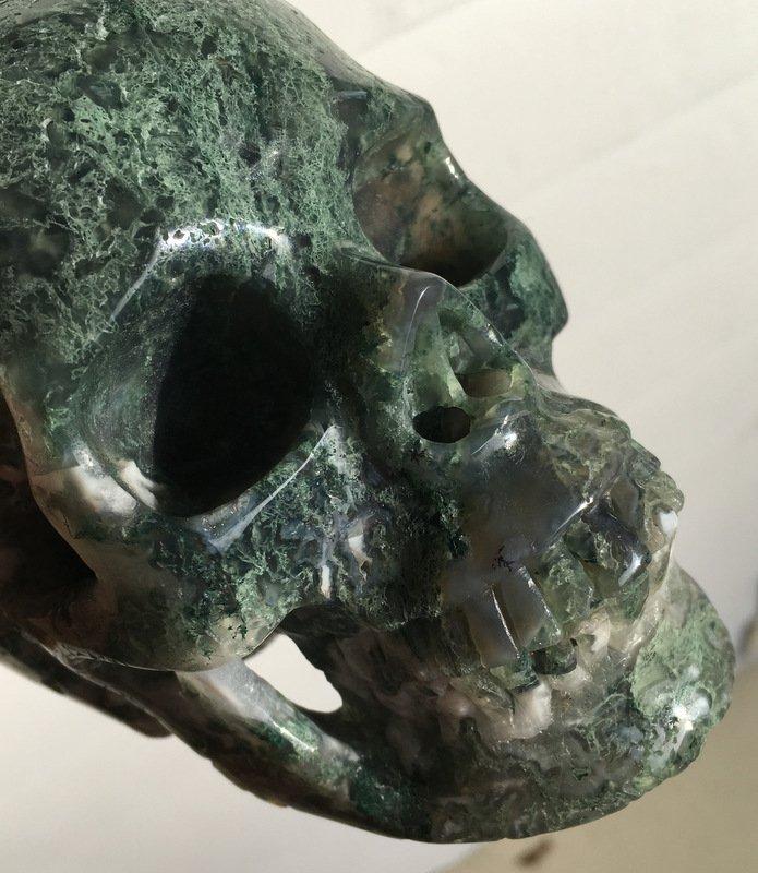 "5"" Realistic Crystal Skulls Large Moss Agate Gemstone New Beginnings Wealth Magic Energy Healing"