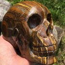 "Crystal Skulls 5"" Large Tiger Eye Iron hematite Gemstone Skull Prophecy Divination Spiritual realm"