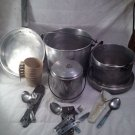 Rare, MidCentury Sears & Roebuck 16 pc. Aluminum Camp Picnic Set w/ box!