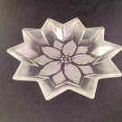 "13"" star-shaped glass bowl w/ etched flower pattern- gorgeous!"