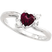 Rhodolite and Diamond Heart Ring