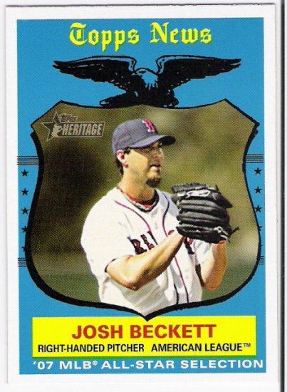 JOSH BECKETT 2008 Topps Heritage SHORT PRINT Card #498 Boston Red Sox FREE SHIPPING