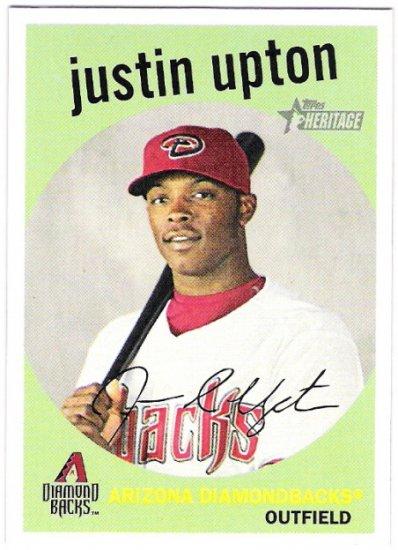 JUSTIN UPTON 2008 Topps Heritage GB SHORT PRINT Card #54 Arizona Diamondbacks FREE SHIPPING