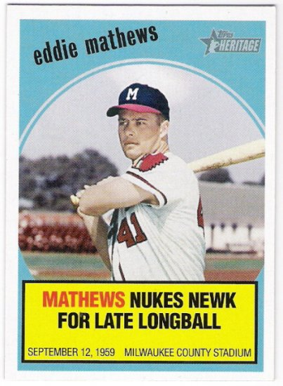 EDDIE MATHEWS 2008 Topps Heritage Baseball Flashbacks INSERT Card #BF10 Atlanta Braves FREE SHIPPING