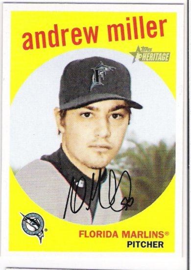 ANDREW MILLER 2008 Topps Heritage GB SHORT PRINT Card #228 Florida Marlins FREE SHIPPING