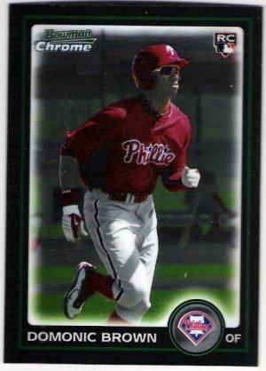 DOMONIC BROWN 2010 Bowman Draft Picks & Prospects CHROME ROOKIE Card #BDP70 Philadelphia Phillies RC