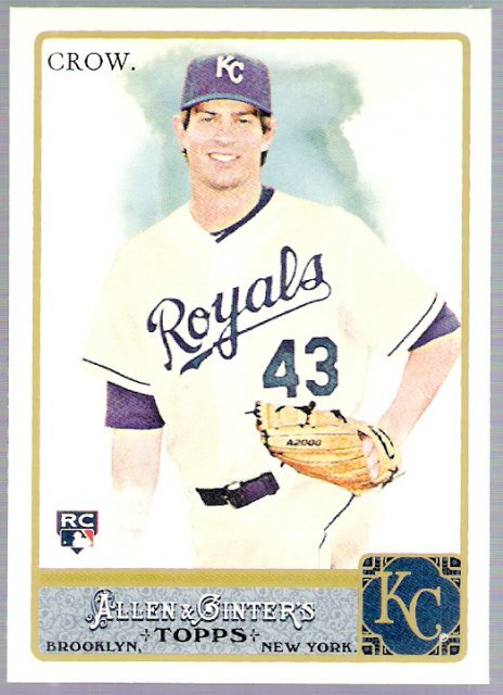 AARON CROW 2011 Topps Allen & Ginter ROOKIE Card #177 Kansas City Royals FREE SHIPPING Baseball RC