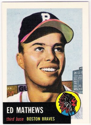 EDDIE MATHEWS 1991 Topps Archives Card #37 ATLANTA BRAVES Milwaukee FREE SHIPPING Baseball 37