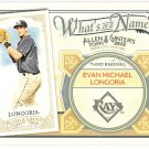 EVAN LONGORIA 2012 Topps Allen & Ginter What's In A Name INSERT Card #WIN90 TAMPA BAY RAYS Baseball