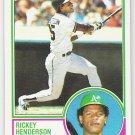 RICKEY HENDERSON 1983 Topps Card #180 OAKLAND A'S Baseball FREE SHIPPING 180 HOF