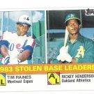 RICKEY HENDERSON & TIM RAINES 1984 Topps SB Leaders Card #134 OAKLAND A'S Baseball FREE SHIPPING 134