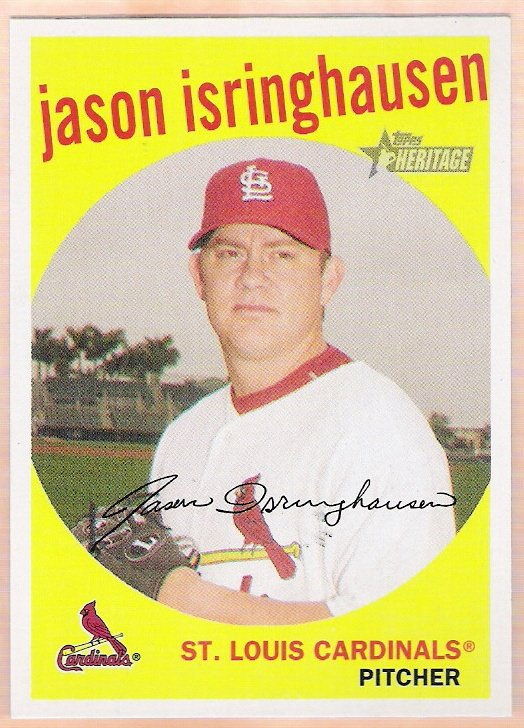 JASON ISRINGHAUSEN 2008 Topps Heritage Black Back Insert Card #83 St Louis Cardinals FREE SHIPPING