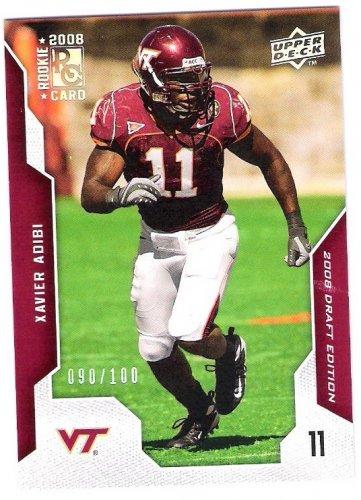 XAVIER ADIBI 2008 Upper Deck Draft SILVER Parallel Rookie Card #100 Houston Texans FREE SHIPPING #d
