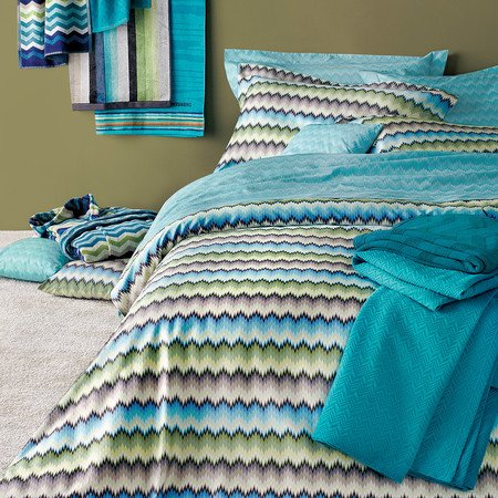 Zig zag bedding set modern Missoni Home on shades of blue and grey green 170