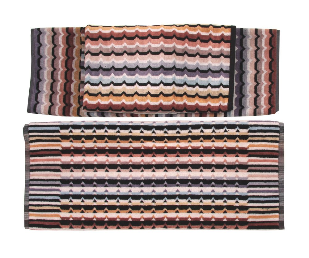 Missoni Home Omar set 1+1 and bathmat -brown striped multicolored