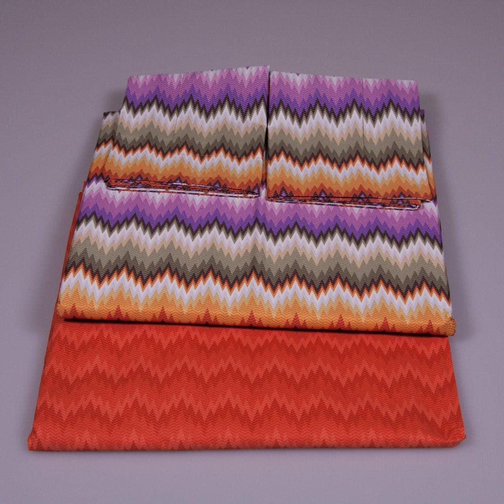 Zig zag bedding set modern Missoni Home on shades of Orange and purple green 156