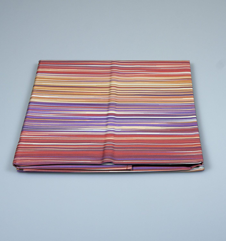 Modern striped bedding set Missoni Home on shades of Orange and purple green 156