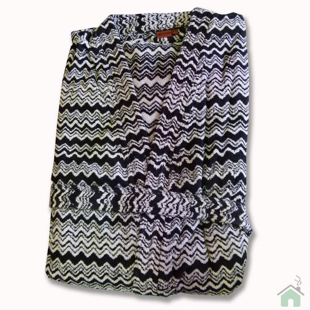 Bathrobe Missoni Home GIONA chevron design Kimono pattern black and white