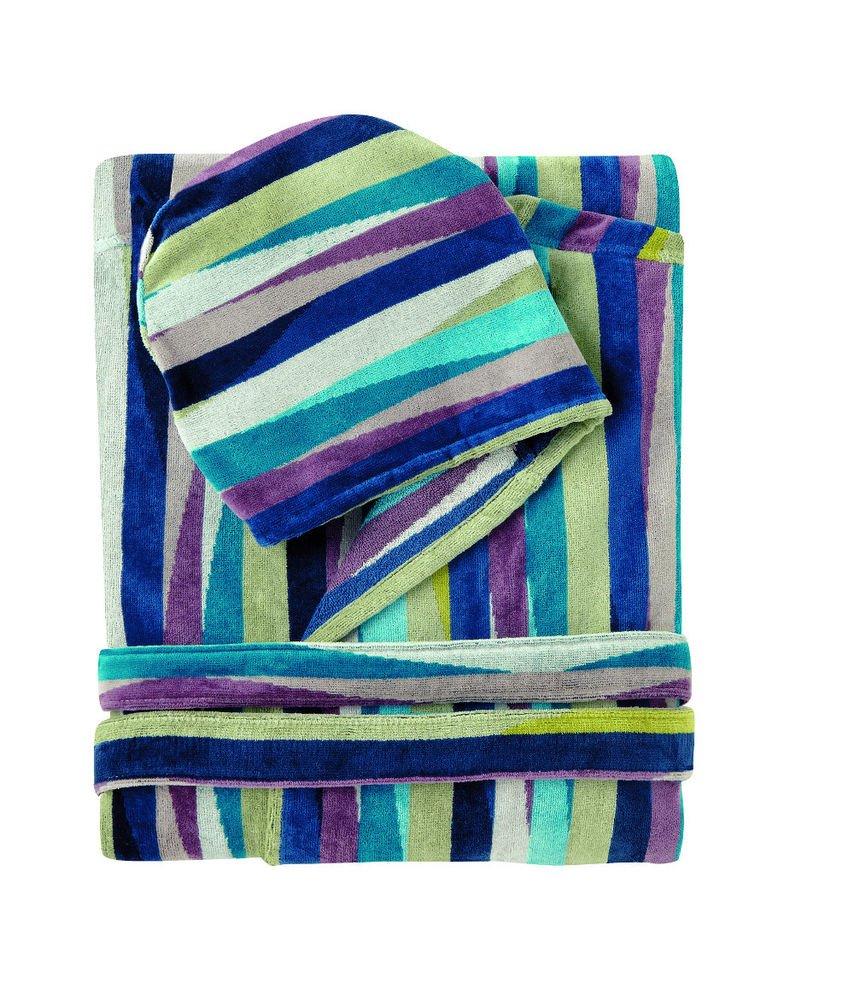 Missoni Home Bath robe with hood ROMY var. 170 on shades of blue
