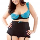 Teal Lace Bra and High Waist Panty