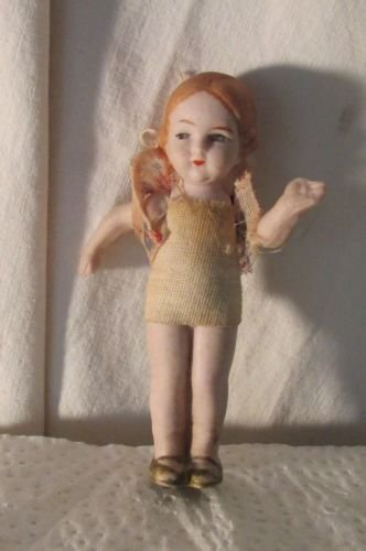 "VINTAGE BISQUE DOLLHOUSE DOLL GERMANY 3-1/4"" MOLDED HAIR AND SHOES DRESSED"