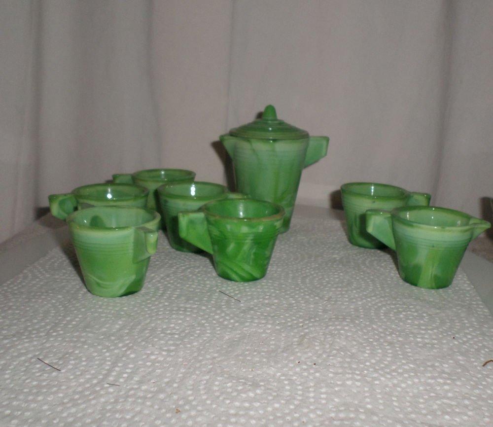 VINTAGE CHILD'S AKRO AGATE GREEN JADEITE SWIRL TEA SET