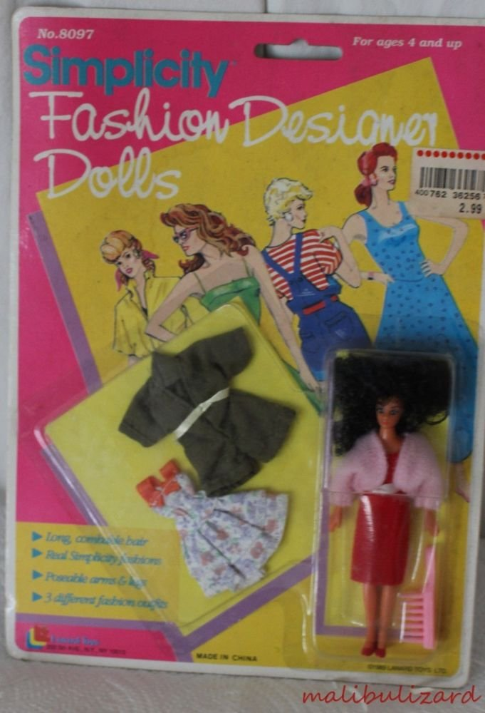"""Simplicity Fashion Doll MOC  4-1/2"""" tall with 2 outfits 1989"""