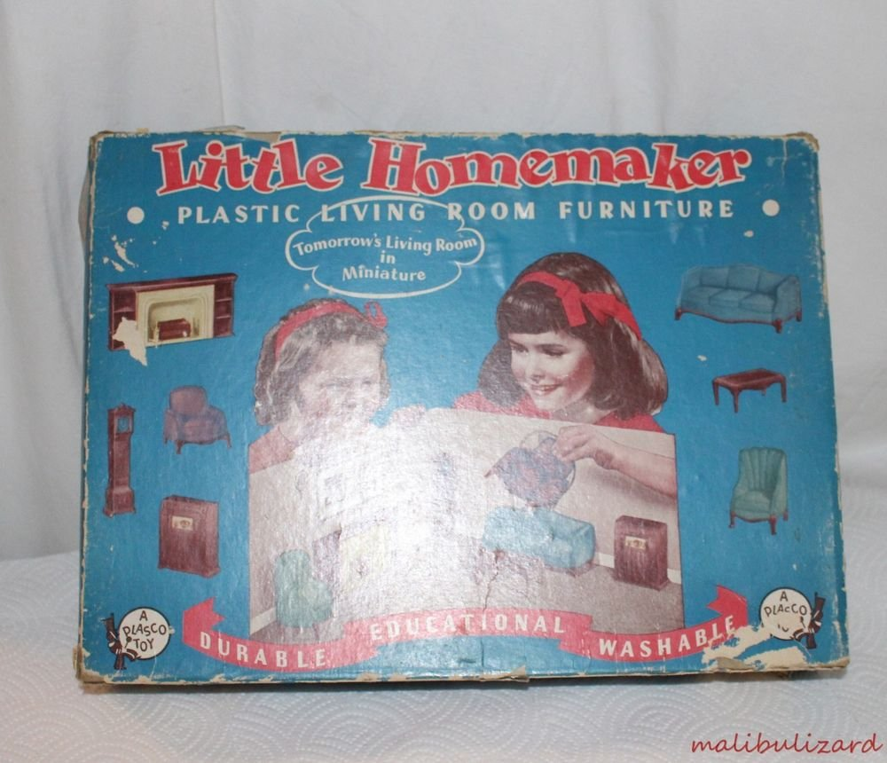 Vintage Little Homemaker Dollhouse Funiture Living Room Set Original Box Plasco