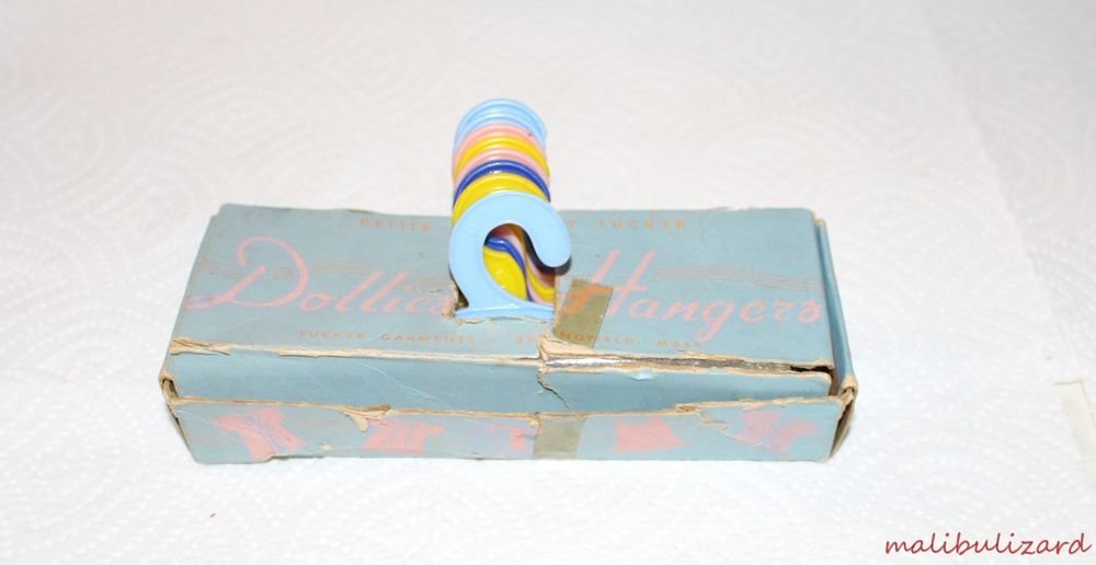 Vintage Dolly Hangers in the Original Box 8 Hangers All Different Colors Cute