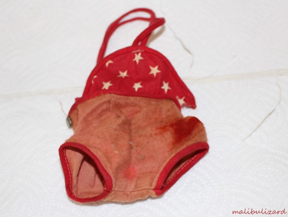 Vintage Doll Sunsuit Bathing Suit Patsy Type Red with White Stars