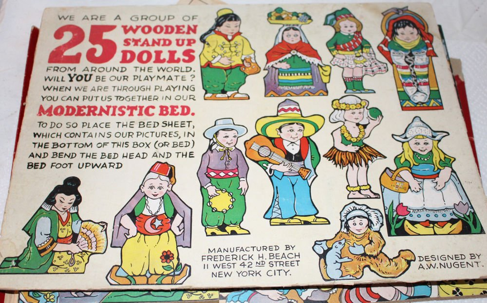 VINTAGE GROUP OF 25 WOODEN STAND UP DOLLS FREDERICK H BEACH A.W. NUGENT