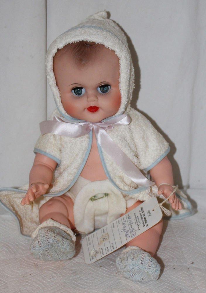 "Vintage  Vinyl Baby Doll Collete Toy Novelty Co. 14"" Pristine Hang Tag Sample"