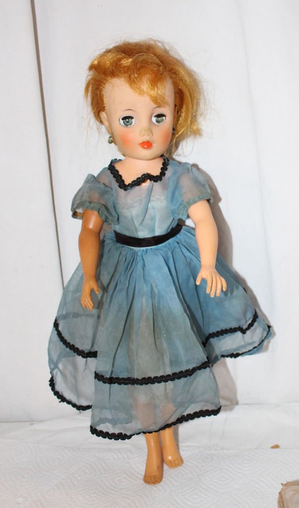 """VINTAGE MISS REVLON TYPE DOLL 17"""" STRAWBERRY BLONDE RED HAIR WITH ISSUES"""