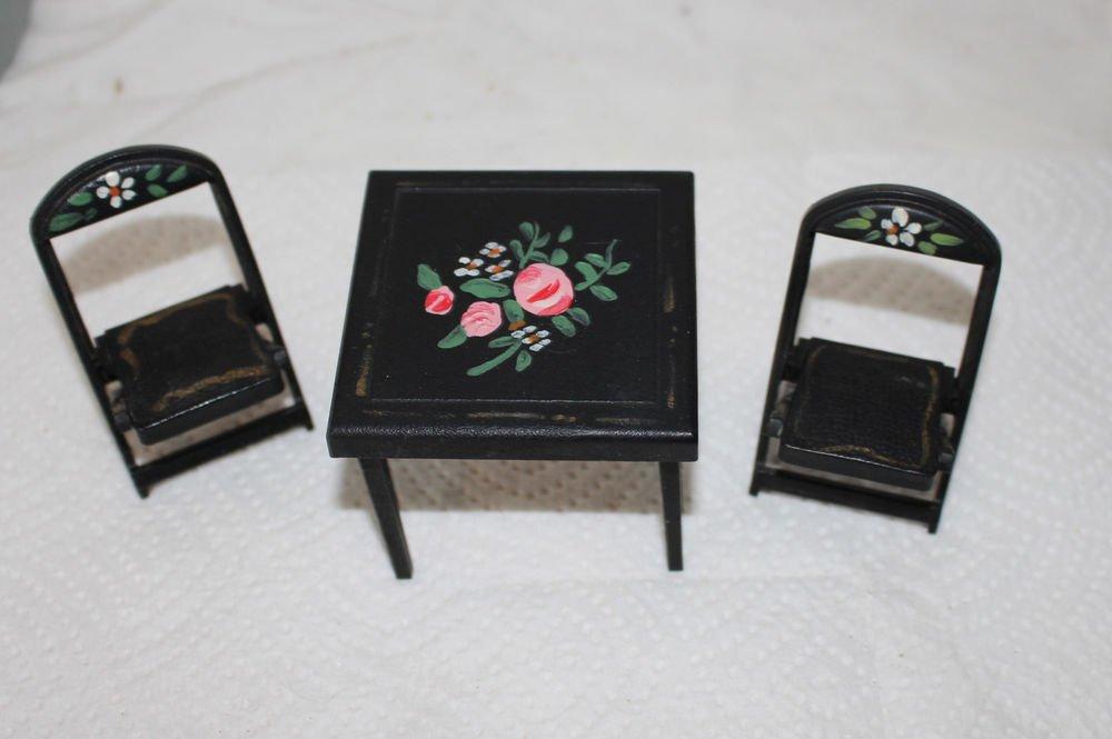 VINTAGE DOLLHOUSE MINIATURE RENWAL CARD TABLE SET PAINTED FLOWERS