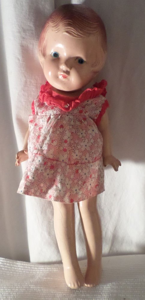 """VINTAGE ARRANBEE PATSY TYPE DOLL 12"""" TALL  MOLDED HAIR RED DRESS PAINTED EYES"""