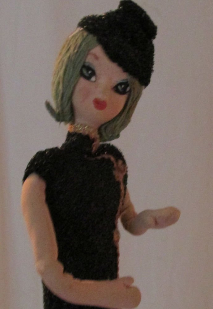 WIDE EYED MOD FRENCH FASHION MODEL TALL WIRED DOLL STUNNING BLACK SPARKLY OUTFIT