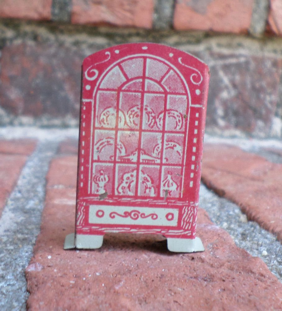 VINTAGE MARX TIN LITHO NEWLYWED'S DOLLHOUSE CHINA CLOSET CABINET