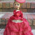 "VINTAGE 17"" BRADLEY DOLL WIDE EYED RED GOWN AND HAT FRENCH"
