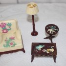 VINTAGE DOLLHOUSE MINIATURE RENWAL LIVING ROOM PIECES STENCILED 4 PIECES
