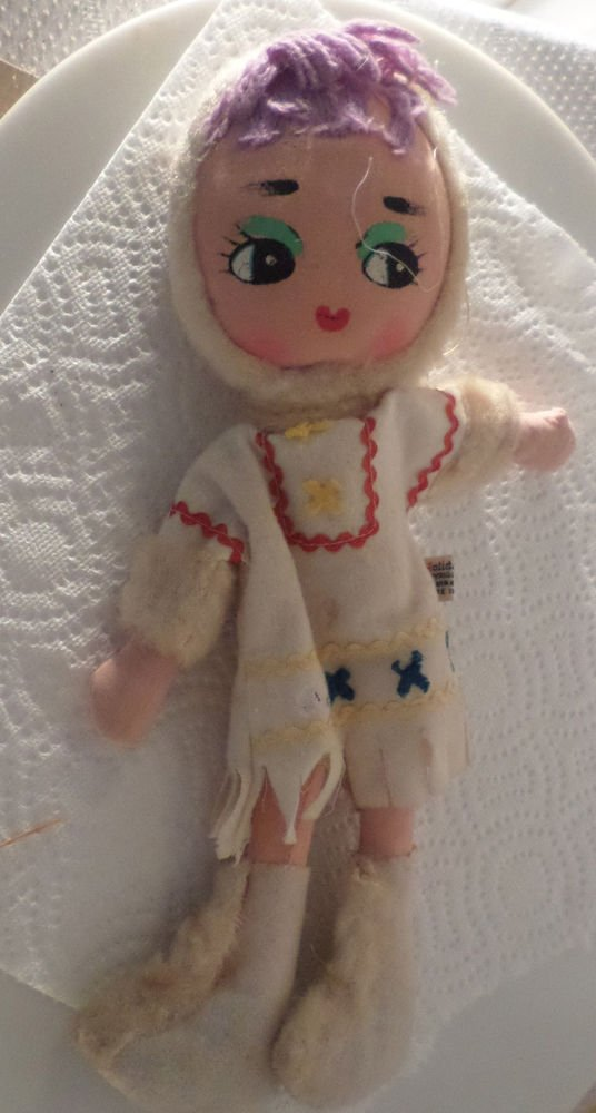 """VINTAGE DOLL HOLIDAY FAIR DOLL WIDE EYES ESKIMO WINTER OUTFIT 12"""""""