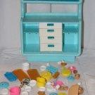 Vintage Barbie HTF Blue 2 Piece Hutch for Mod Era Dream House + Accessories