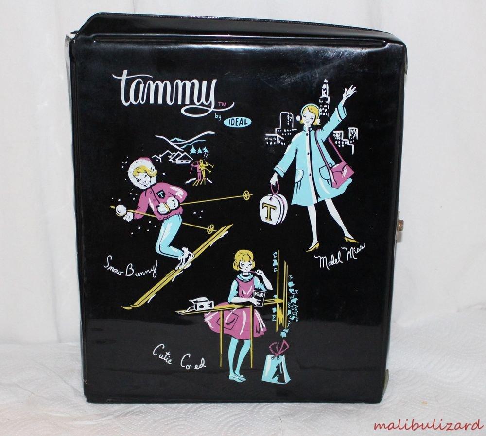 VINTAGE HTF BLACK TAMMY FASHION CASE SNOW BUNNY CUTIE CO-ED MODEL MISS