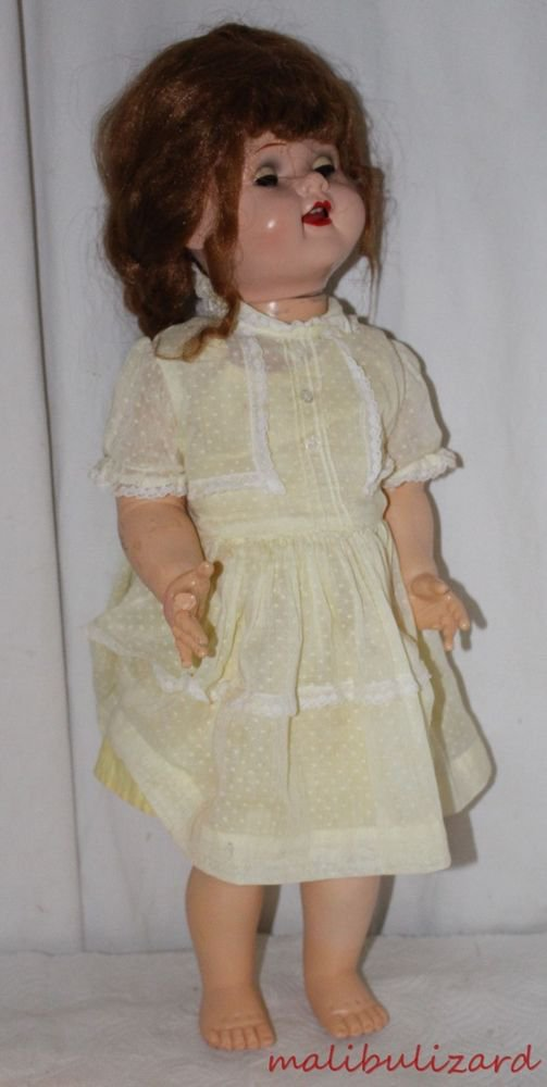 "Vintage Doll Dress Pretty Yellow Sunsuit and Overdress Fits 22"" Saucy Walker"