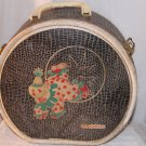 Vintage Child's  Round Suitcase Clown on Front Small Child or Doll