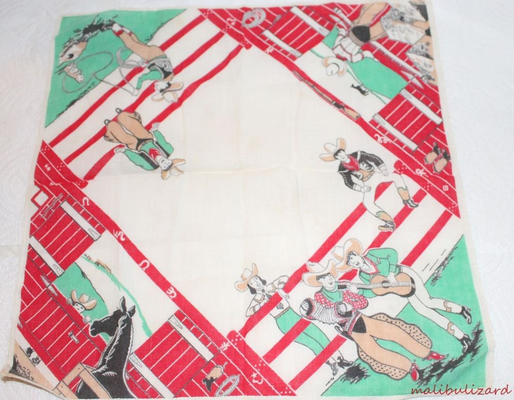 Vintage Novelty Handkerchief Western Theme Cowboys Cowgirls Playing Instruments