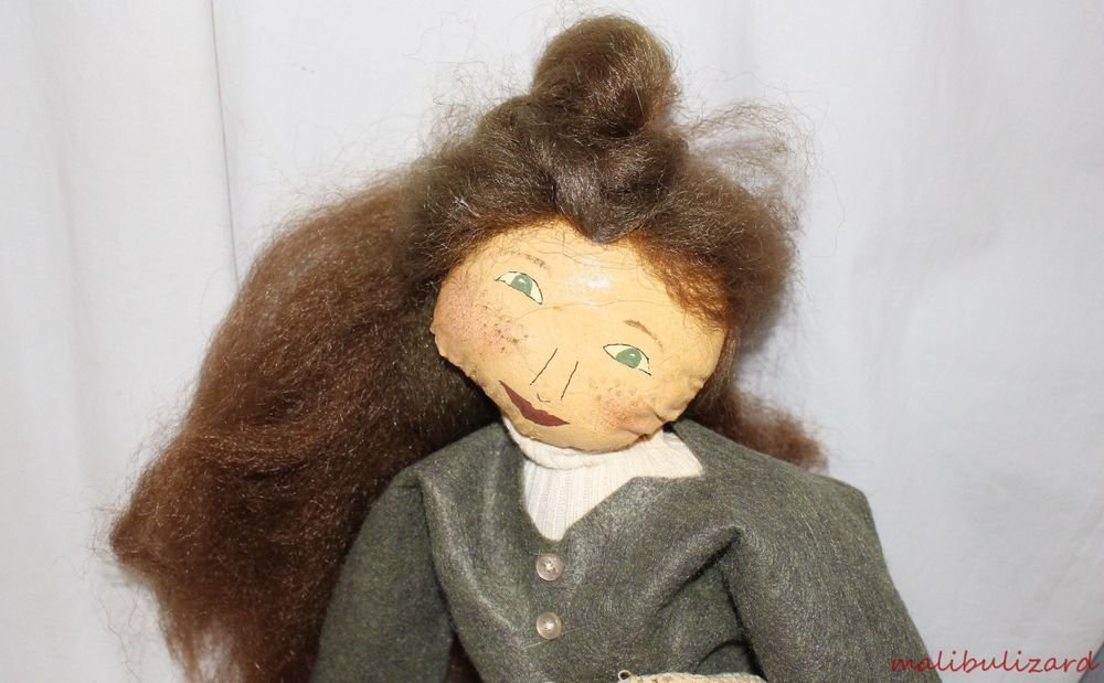 OOAK DOLL OIL CLOTH PAINTED FACE NICELY DRESSED HAIR LOOKS REAL