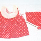 Vintage Doll Dress Red + White Dots + Panties Fits Patsy 1930s Style 5-3/4""