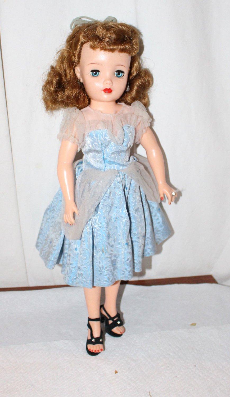 "Vintage Ideal Miss Revlon Doll Blue and White Dress Shear Sleeves Belt Top  18"""