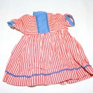 "VINTAGE RED WHITE & BLUE DOLL DRESS 1940s/50s 9"" l"