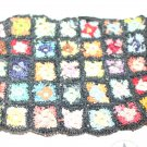 "Miniature Dollhouse Crocheted Rug Colorful Squares 4-1/2"" x 2-3/4"""